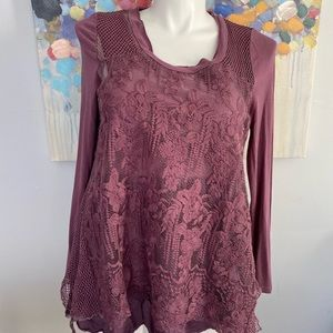 EASEL Double Layer Lacy Ruffle Tunic Top